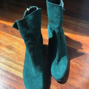 Paola Ferri for Anthropologie Green Suede Booties
